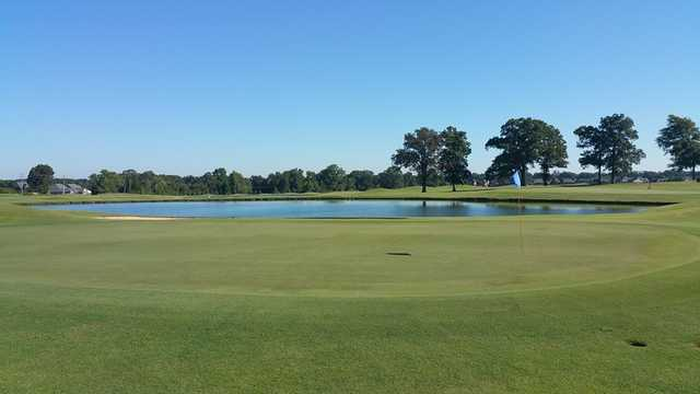 A view of a green with water coming into play at Fair Oaks Golf Club.