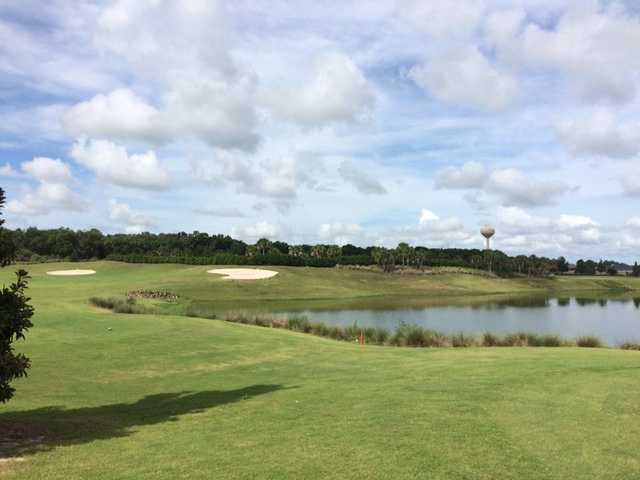 A sunny day view of a tee from Mangrove at The Villages Executive Golf Trail (Andrew Poole)