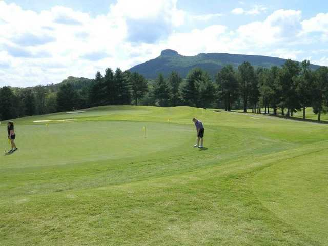A view of the putting green at Pilot Knob Park Golf Course