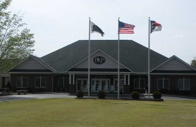 A view of the clubhouse at Pilot Knob Park Golf Course