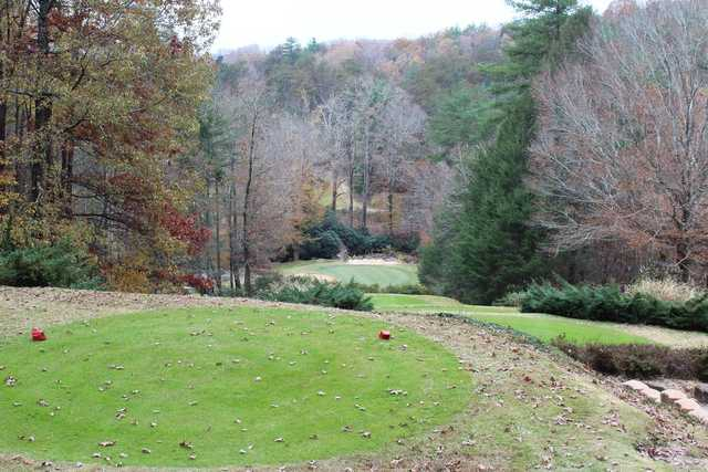 A fall day view from the red tee at The Rock Golf Club & Resort.