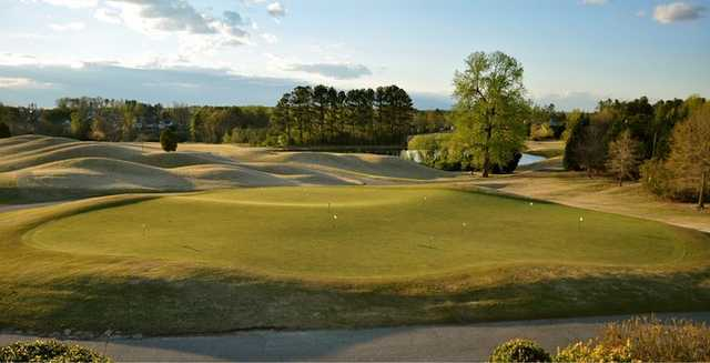 A view of the putting green at River Ridge Golf Club