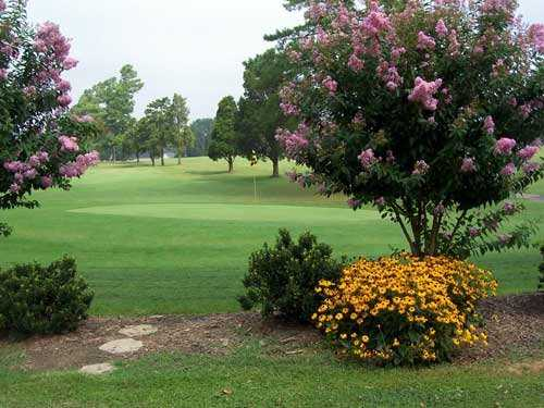 A view of the 18th green from the picnic area behind the clubhouse at McCanless Golf Club