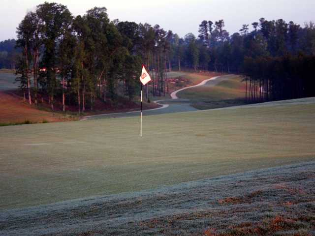 A view from green #17 of the 16th faiway from Lonnie Poole Golf Course