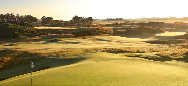 A sunny day view from Royal Troon Golf Club.