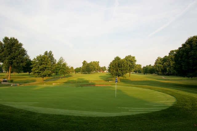 A view of the 1st green at Blue Springs Country Club.