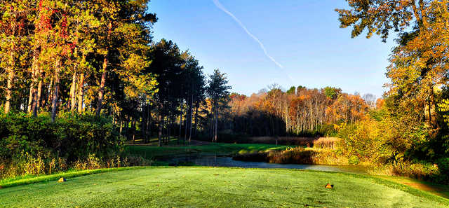 A fall day view from a tee at Bull Valley Golf Club.