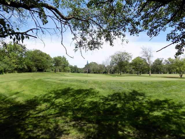 A view of a green at Chick Evans Golf Course.