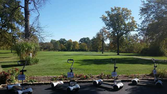 A view of a tee at Chick Evans Golf Course.