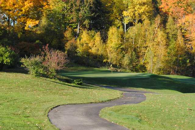 A fall day view of a hole at Green Bay Country Club.