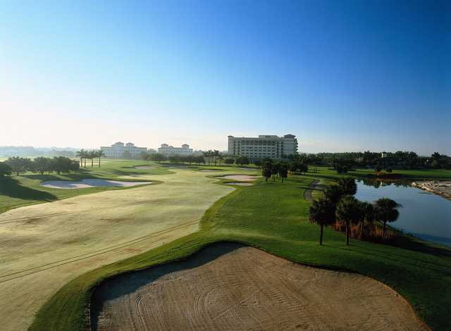 View of the 18th fairway and green at Heron Bay Golf Course