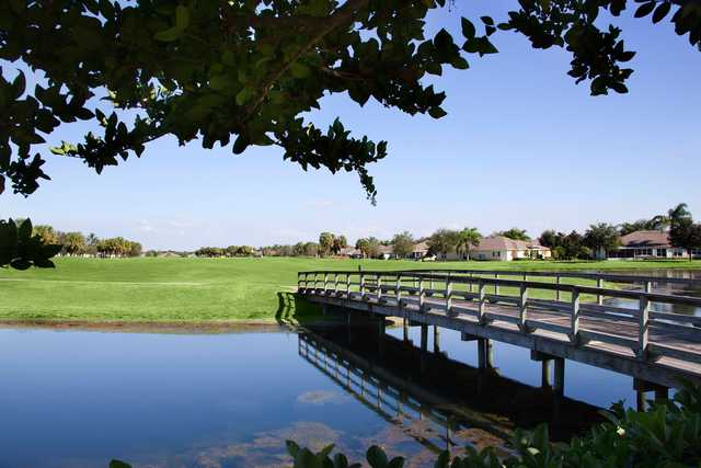 View of the 8th green and bridge from the Ibis course at Scepter Golf Club