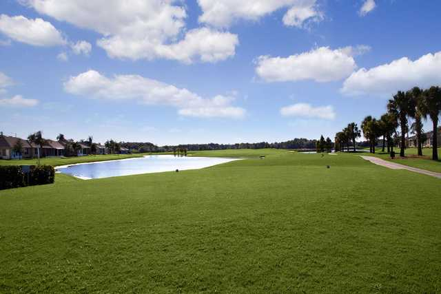A view of a tee at Scepter Golf Club.