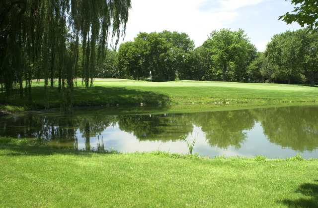 A view of a green at River Oaks Golf Course.