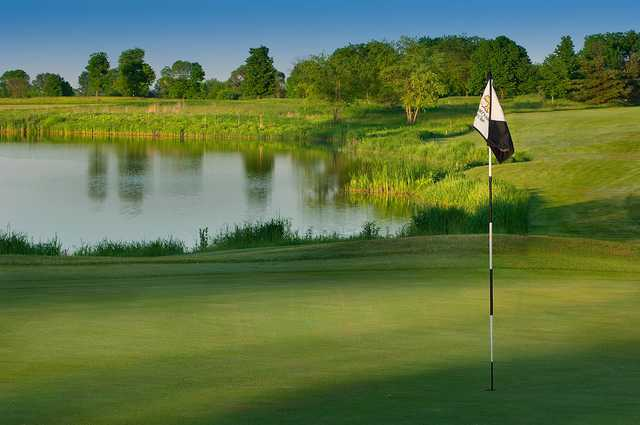 A view of a green with water coming into play at Countryside Golf Club.