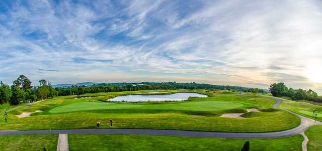 A view of the notable hole #9 and #18 sharing a double green at Castleknock Golf and Country Club.