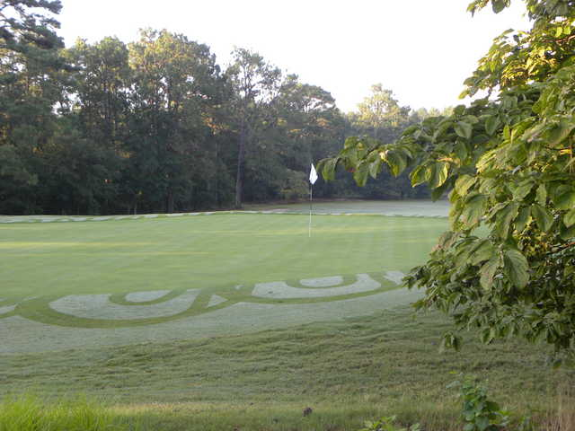A view of green #12 from the 13rd tee at Southern Pines Golf Club