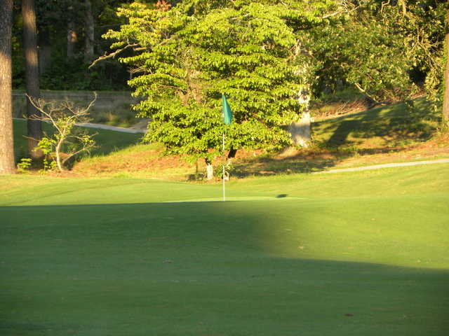 A view of green #9 at Southern Pines Golf Club