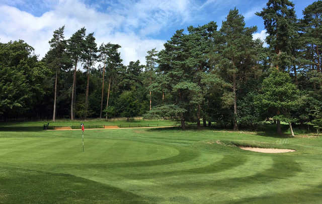 A sunny day view of a hole at Thetford Golf Club.