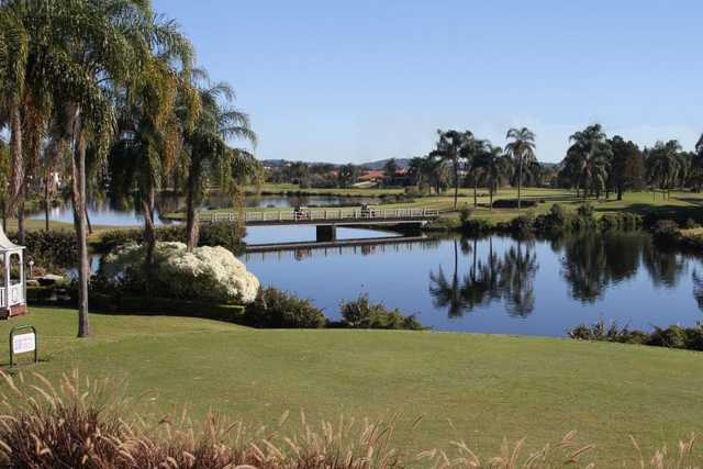 A view over the water from Palm Meadows Golf Course.
