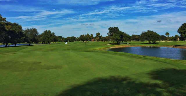 Looking back from the 18th green from Oaks at Palm-Aire Country Club