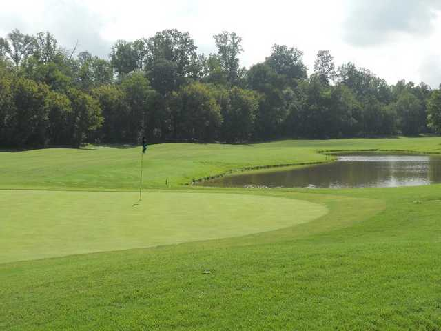 A view back to the fairway from behind the green #17 at Larkin Golf Club