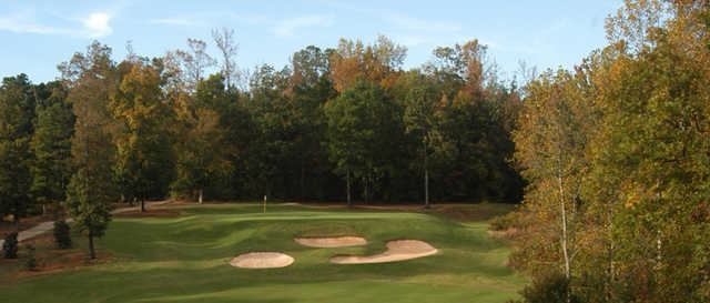A fall day view of a hole from Coweta Club at Arbor Springs Plantation.