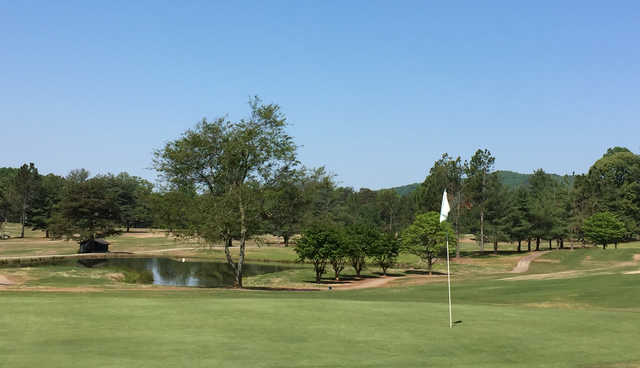 A view of a hole at Mossy Creek Golf Club.