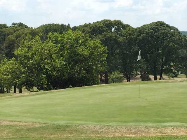 A view of a green at Mossy Creek Golf Club.