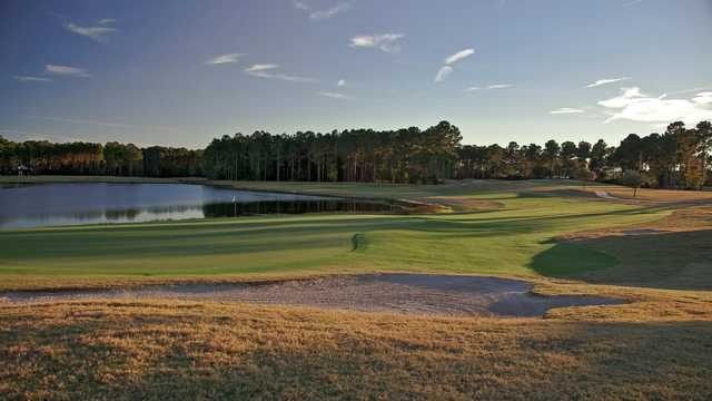 A view of a green with water coming into play at Pinecrest Golf Club.
