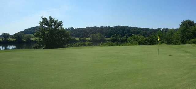 A view of the 18th hole at River Islands Golf Club.