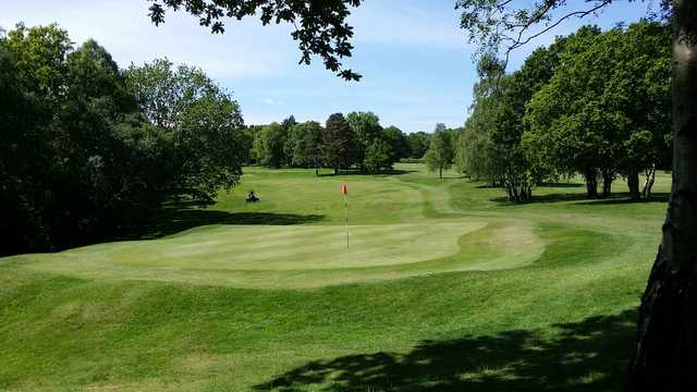 A view of a green at River Crossing Golf Club.