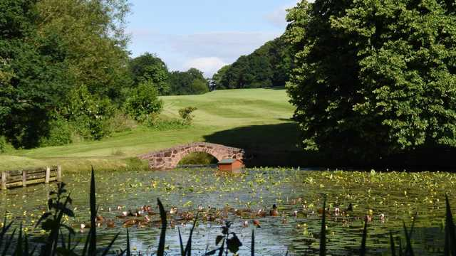 A view over a pond at Shifnal Golf Club.