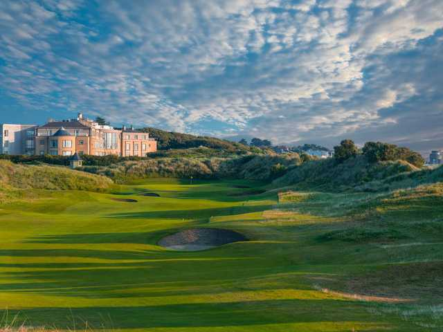 A view of a well protected hole at Portmarnock Hotel and Golf Links.