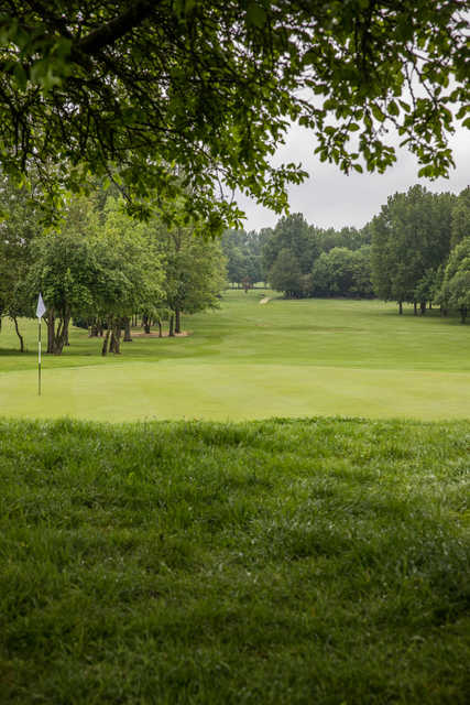 Looking back from a green at The Cambridgeshire Golf Club