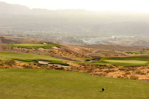A view of the 14th green at Laughlin Ranch Golf Club