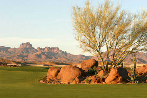 A view of the practice green at Laughlin Ranch Golf Club
