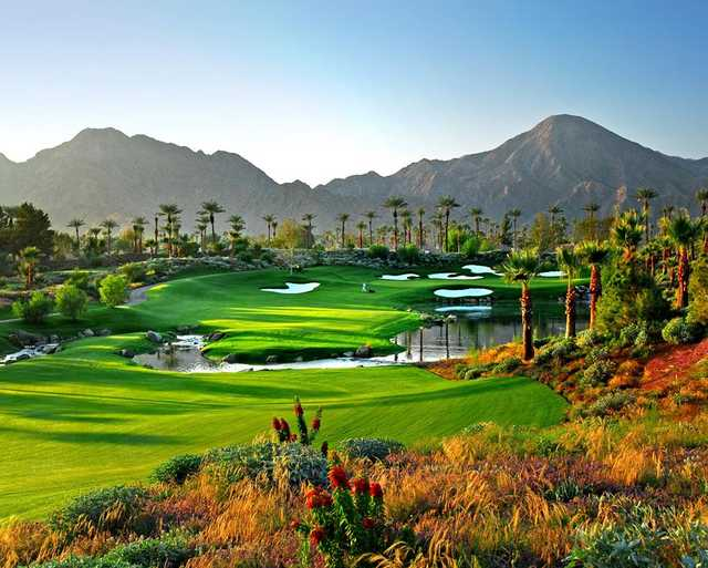 A view of hole #15 at Celebrity Course from Indian Wells Golf Resort.