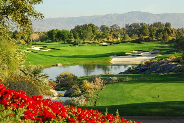 A view from a tee at Celebrity Course from Indian Wells Golf Resort.