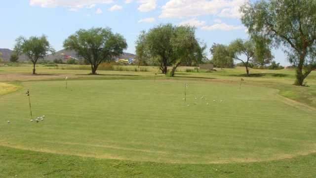 A view of the practice green at Adobe Dam Family Golf Center