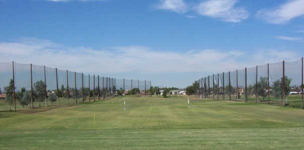 A view of the practice area at Desert Mirage Golf Course