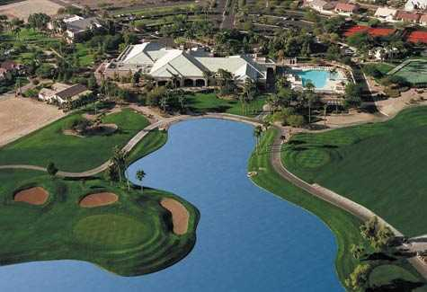 Aerial view of the clubhouse and swimming pool at Tuscany Falls Country Club