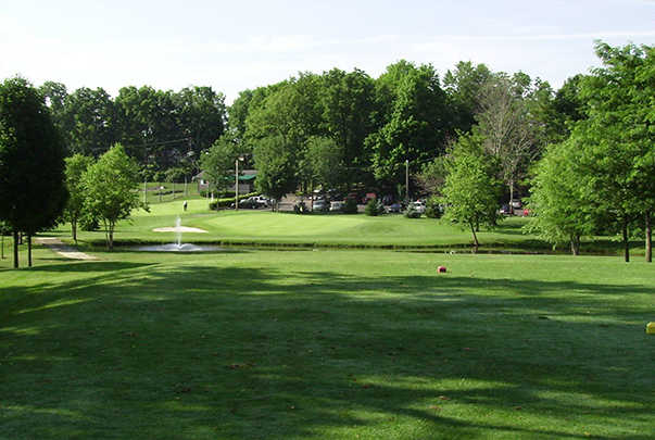 A sunny day view of a tee at Hidden Valley Golf Course.