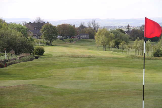 Looking back from a green at East Bierley Golf Club