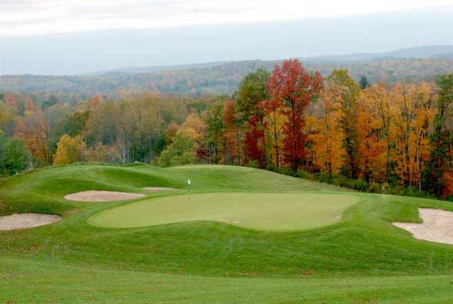 An autumn view of a well protected hole at Crystal Springs Golf Club.