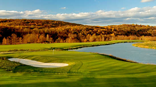 A fall day view of green #2 at Cascades Golf Course.