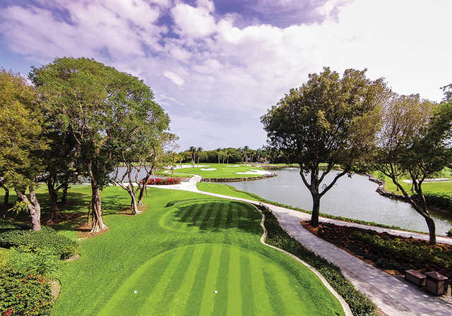 A sunny day view from a tee at Ocean Reef Club.