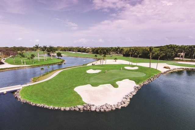 A view of green #5 with water and bunkers coming into play from Dolphin at Ocean Reef Club.