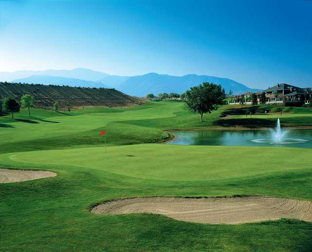 A view of a green with water and bunkers coming into play at Tanoan Country Club.