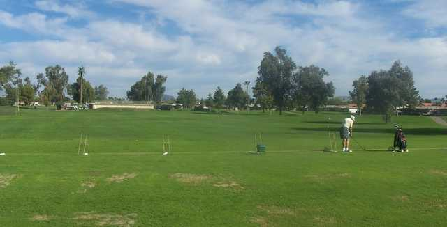 A view of the practice area at Sunland Village Golf Course